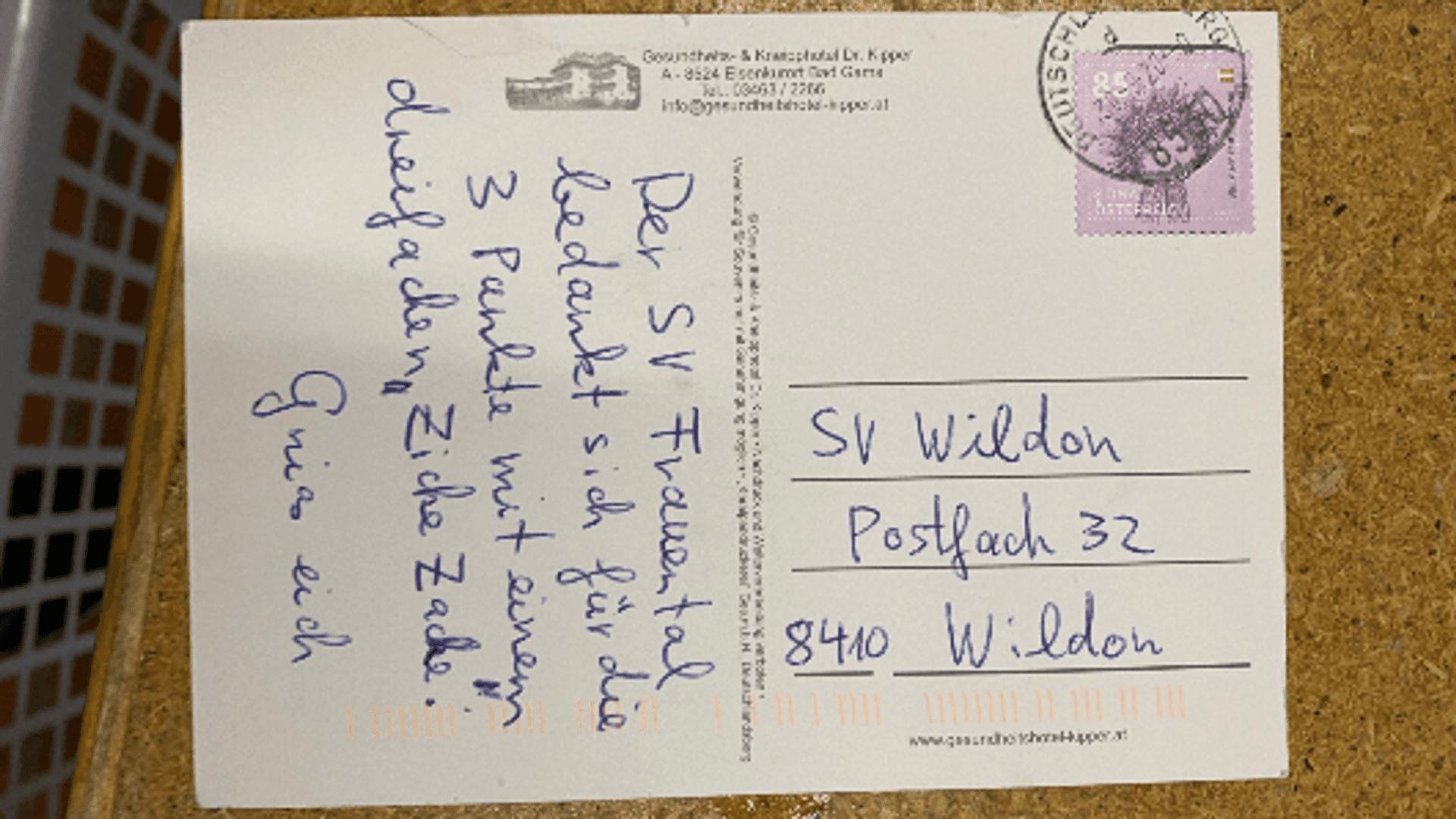 """Diese Postkarte mit """"Dankesworten"""""""